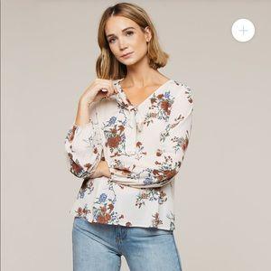 SALE 🔥 Floral White Tie Long Sleeve Blouse
